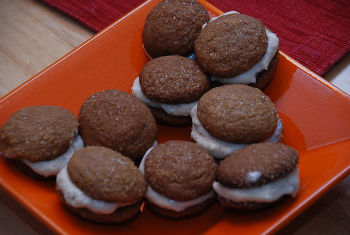 ginger cookie sandwiches with bourbon cream