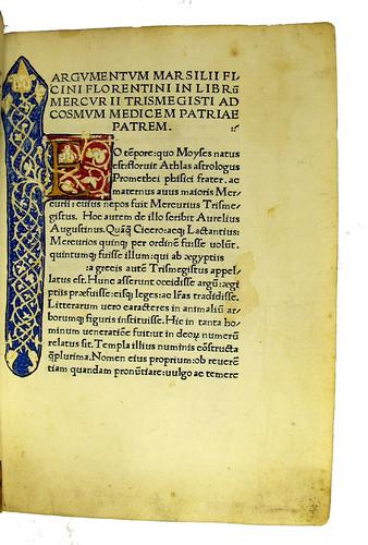 Initial and border decoration in Hermes Trismegistus: De potestate et sapientia Dei