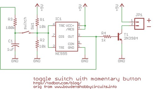 toggle switch circuit diagram the wiring diagram momentary button as on off toggle using 555 todbot blog circuit diagram · carling toggle switch wiring diagram