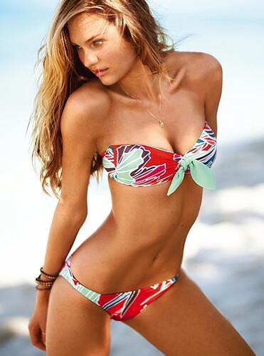 Palm-print bandeau bikini