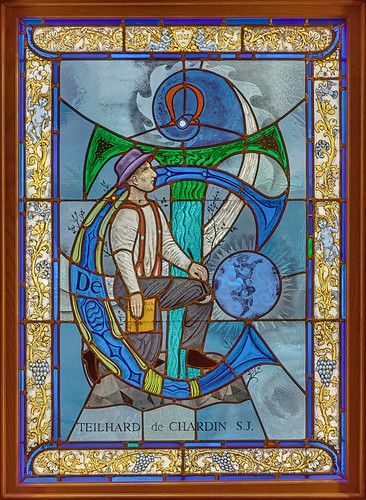 Pere Marquette Gallery of the Saint Louis University Museum of Art, in Saint Louis, Missouri, USA - stained glass window of Teilhard de Chardin