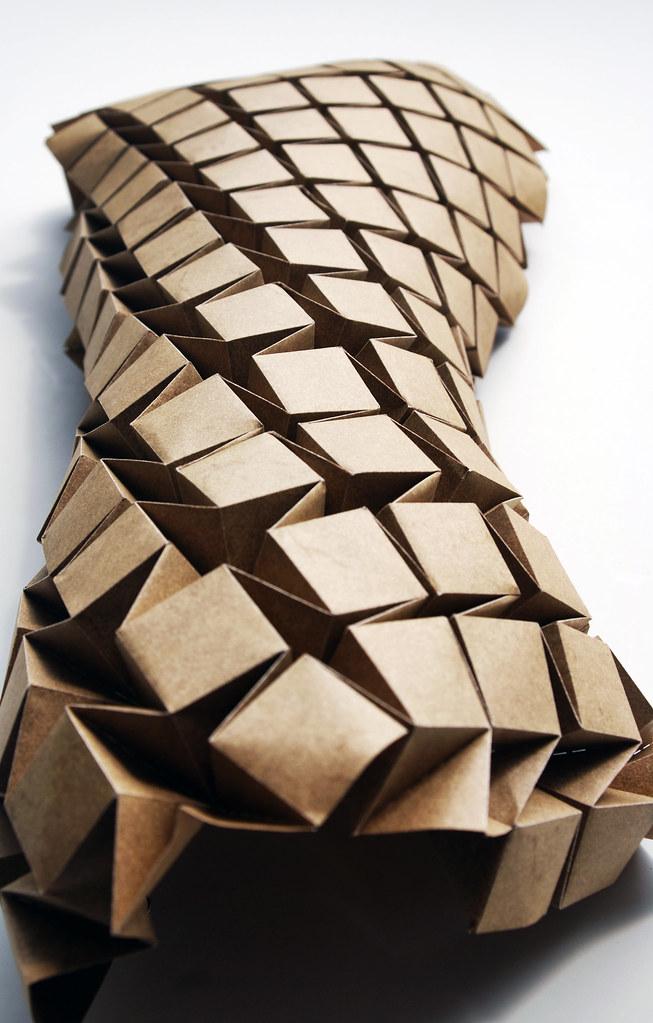 Waterbomb1 Kuebler Tags Wall Architecture Origami Tessellation Lasercutter Digitalfabrication