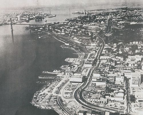The waterfront site before redevelopment. The site was not only the ferry terminus, but also a terminus for the Dartmouth bus transit system.
