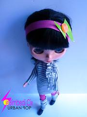 Gray striped & fuchsia