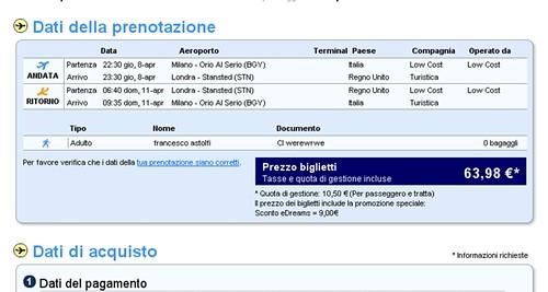 Milano Orio - Londra Stansted eDreams