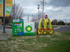 BP/Four Brothers Food Stores and McDonald's signs (RetailByRyan95) Tags: sign nc northcarolina mcdonalds bp advance amoco fourbrothersfoodstores