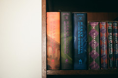 You don't have to burn books to destroy a culture. Just get people to stop reading them. [80:365] (theblackestwhite) Tags: colorful harry potter harrypotter books bookshelf read collection worn torn