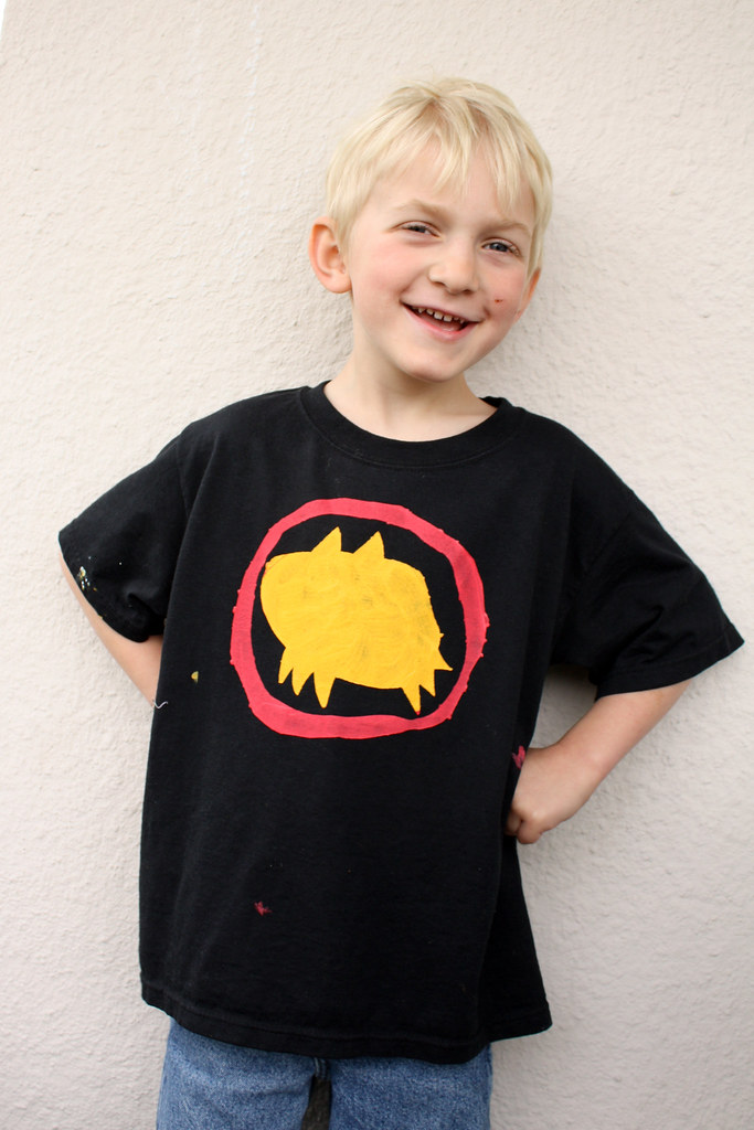 Kid-drawn Batman Symbol shirt