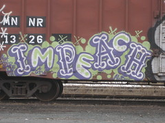 impeach (H.R. Paperstacks) Tags: streetart art minnesota graffiti paint steel painted graf stpaul minneapolis mpls tc spraypaint alb twincities graff aerosol mn amfm impeach stp freights spraypainted benching