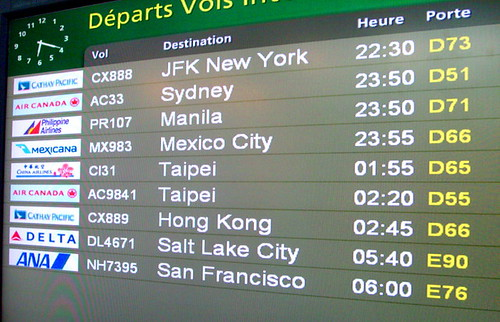 Departure time display at the YVR Vancouver International Airport