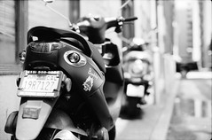 Buddy (DowntownRickyBrown) Tags: sanfrancisco film 35mm vespa scooter buddy leicam6 fujineopanacros ilfosol3 voigtlandernokton50mm11