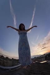 Angel coming to earth (jonathan charles photo) Tags: angel flying dusk beauty roof fisheye art photo jonathan charles topf100
