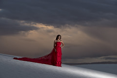 Analesa at White Sands (Mitch Tillison Photography) Tags: beautiful stunning glamourous portrait strobe godox reddress whitesand nationalmonument newmexico southwest location destination style styled styling mitchtillison photo photography sunset dramatic sky pretty