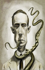 H.P. Lovecraft (Mark Hammermeister) Tags: mystery illustration photoshop painting scary digitalart digitalpainting fantasy horror caricature author hplovecraft cthulu tentacles yogshogoth