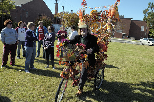 Local social justice activist Ed Kearns won the bike decoration contest. Photo by Ajit Bhand. (Click for larger.)