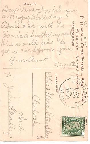 passiveaggressivenotes.com - 1910 birthday postcard from Aunt Myrtle