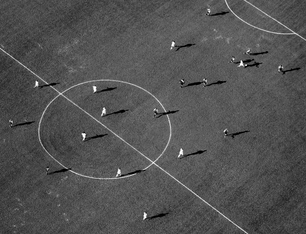 Soccer aerial black and white
