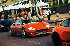 Spyker C8 Spyder (Niels de Jong) Tags: dutch photoshop lumix spider shoot photoshoot crash crossprocess convertible ferrari spyder panasonic turbo porsche lamborghini rs processed rare 2009 supercar v8 hama dmc gallardo w16 noordwijk combo cabriolet v12 gt3 997 pagani spyker c8 droomrit laviolette hypercar nielsdejong fz8 ndjmedia