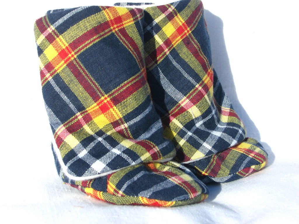 Baby Boots, Blue and Yellow Plaid