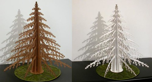Alpine tree made of cardboard