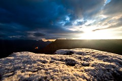 grand canyon sunrise with snow