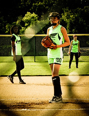 Attitude 1a_09JUN27 (carlina999) Tags: green look sport dark attitude softball pitcher falcons infield fastpitch oakpark indimidation sbfalcon