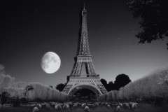 Midnight at the Eiffel Tower in Paris