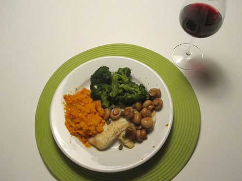 Tilapia with garlic and capers, sweet potato mashed with parmesan, broccoli, mushrooms, Côte du Rhone