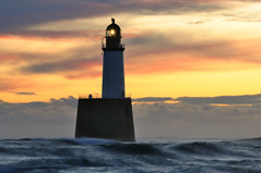Dawn at Rattray Head lighthouse, Aberdeenshire, Scotland (iancowe) Tags: morning sea lighthouse rock sunrise dawn coast scotland day waves cloudy head north scottish stevenson buchan peterhead rattray supershot