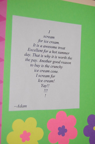 Adam's calendar gift - May's poem close up