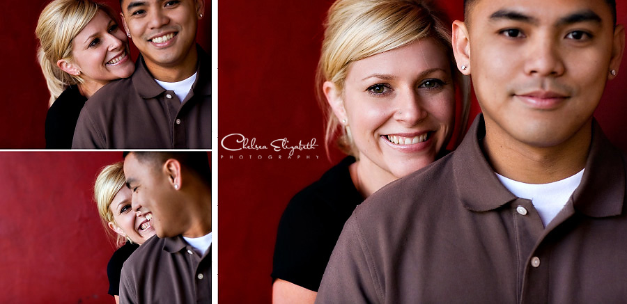 Santa Barbara Engagement Picture Red Wall