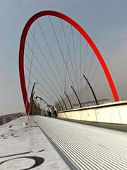 Rasoarco (Il cantore) Tags: bridge red sky torino arch perspective ponte piemonte cielo handrail ropes turin rosso arco prospettiva cavi passerellaolimpica 15challengeswinner canoniani mancorrente