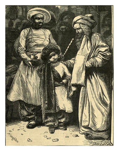 004-Agib y el eunuco con Hassan Bedreddin-A.B. Hougston-Dalziel's Illustrated Arabian nights' entertainments (1865)