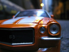 Getaway Camaro (Flint Foto Factory) Tags: auto street city winter urban orange chicago classic chevrolet car night toy back alley downtown general loop ss january camaro motors chevy chrome rod friday trompeloeil 2010 fastback