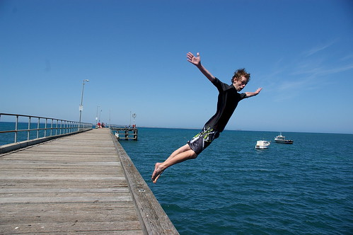 leaping off the pier at Flinders