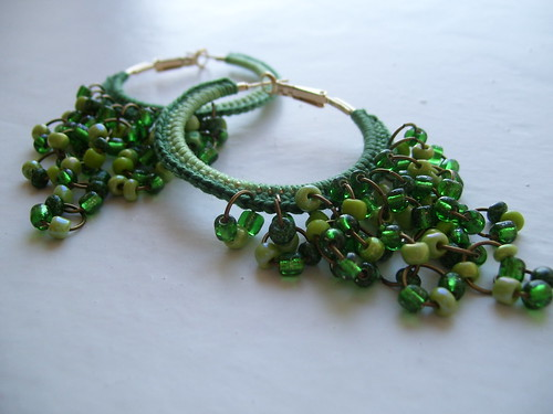Crocheted green hoops