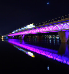 Phoenix Light Rail Eclipse (gbrummett) Tags: arizona color night colorful purple az tempetownlake 50v5f tempearizona 10faves tempebeachpark phoenixlightrail canonef1740mmf4lusmwideanglezoomlens canoneos5dmarkiicamera grantbrummett