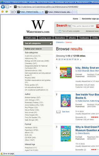 screengrab - Waterstone's Kid's Non-fiction