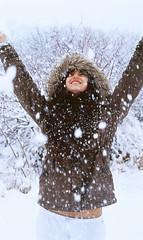 Catching my motion. (Ryan J Weiss) Tags: snow film rural 35mm canon 50mm kodak ryan pennsylvania rebekah epson a1 18 snowfall weiss e100vs fd shickshinny v500 snowfalling