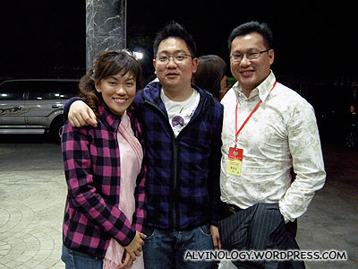 Rachel and I with my boss, Chim Kang and his new Shantou hairstyle