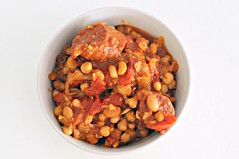 Chickpeas, Pinto Beans, White Beans etc, Red Peppers, Tomatoes, Chorizo Stew-type Thing