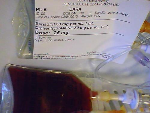 Benadryl and Infed test dose