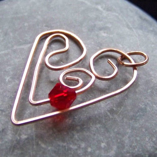 copper and red crystal heart pendant