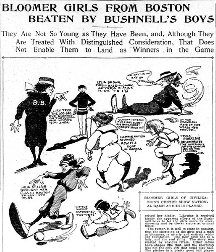 A 1901 cartoon of the Bloomer Girls from the San Francisco Call.