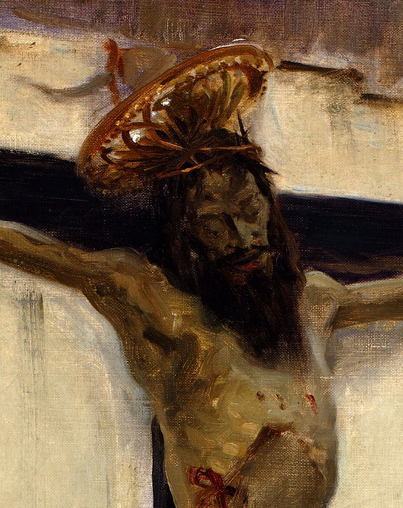 John Singer Sargent (American, 1856-1925 ) Crucifix (1879) Oil on canvas. Private Collection. Detail.