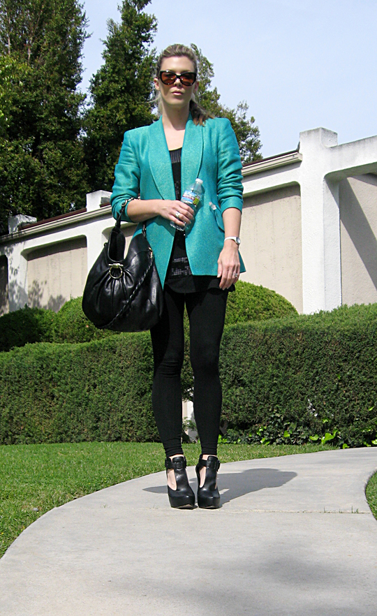all black teal color pop blazer -1 -sh