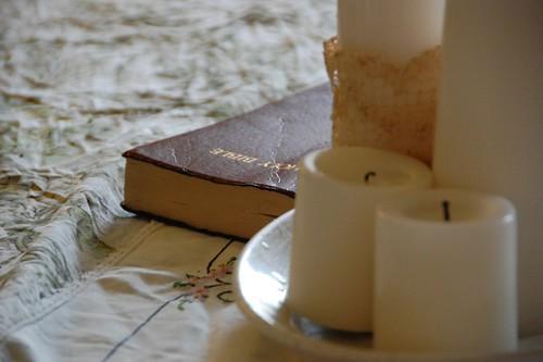 preparing the seder table