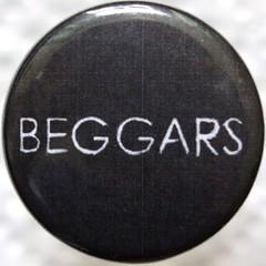 Beggars (chrisinplymouth) Tags: white black vintage circle word pin badge button squaredcircle squircle beggars langeng cw69x chrisinplymouth onewordbeggars
