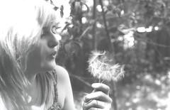 Making wishes (slowlife-) Tags: blackandwhite plant flower film nature girl friend natura blow dandelion wishing