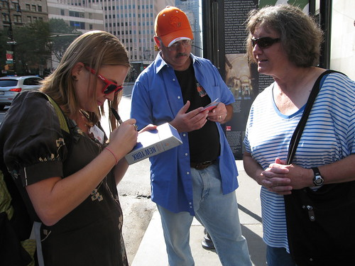 Alissa signs a copy of her City Walks deck for the nice folks from Oklahoma